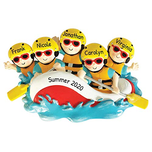 Personalized White-Water Rafting Family of 5 Christmas Tree Ornament 2020 - Adventure Sport Activity Paddle Together River Friend Year Holiday Tradition Gift Mid-Summer Team Fun - Free Customization
