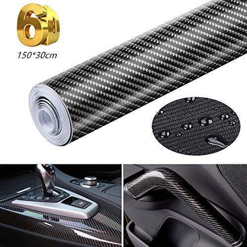 LaoSiJi - Pegatinas de vinilo de fibra de carbono, 6D, para coche, autoadhesivas, impermeables, sin burbujas, aptas para exterior e interior, motocicletas, computadoras, coches, 150 x 30 cm