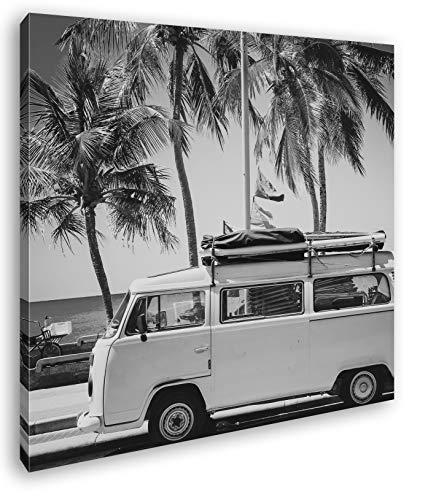 deyoli Camper am Strand mit Palmen im Format: 70x70 Effekt: Schwarz&Weiß als Leinwandbild, Motiv auf Echtholzrahmen, Hochwertiger Digitaldruck mit Rahmen, Kein Poster oder Plakat