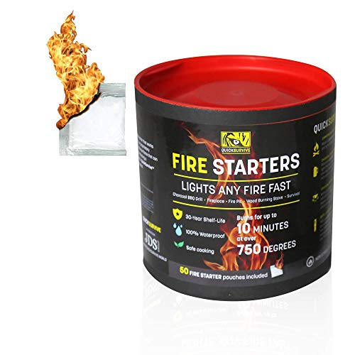 QUICKSURVIVE AllPurpose Waterproof Fire Starters  Survival Fire Starters for Campfires Wood Fire Pit Fireplace Charcoal amp More  AllWeather NonCombustible and Waterproof  50 Piece Canister