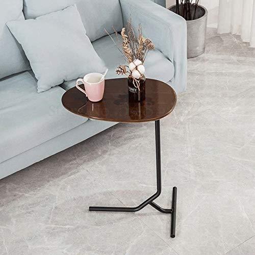 GYHUJI Lazy Mesita de noche creativa sencilla ovalada pequeña mesa auxiliar de hierro móvil de madera maciza, sofá esquinero, mesa auxiliar de noche, mesa auxiliar de lectura (color: Boom Clap 6)