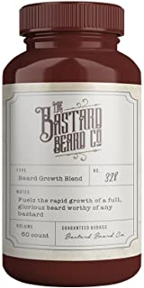 The Bastard Beard Co Organic Beard Growth Vitamins For Men - 60 Count Capsules For Fuller Thicker Longer Manlier Natural Facial Hair With Biotin, Vitamin B Supplement, MSM, L-Lysine, And Pumpkin Seed