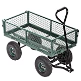 Garden Carts Yard Dump Wagon Cart Lawn Utility Cart Outdoor Steel Heavy Duty Beach Lawn Yard Landscape