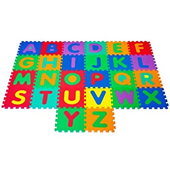 Hey! Play! Interlocking Foam Tile Play Mat with Letters - Nontoxic Children s Multicolor Puzzle Tiles for Playrooms Nurseries Classrooms and More 12.5 x 12.5 x .25