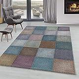 SIMPEX Bajo Alfombra de Pelo Multicolor Moderno de píxeles Cuadrados salón alfombras, Color:Multi, tamaño:140x200 cm