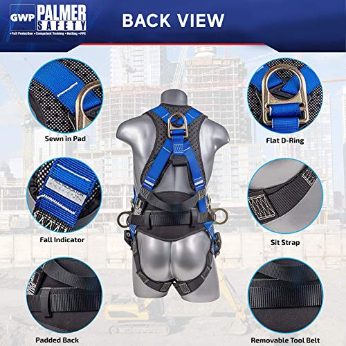 Palmer Safety Fall Protection Full Body 5 point Harness, Padded Back Support, Quick-Connect Buckle, Grommet Legs, Back&Side D-Rings, OSHA ANSI Industrial Roofing Tool Personal Equipment (Blue - SM)