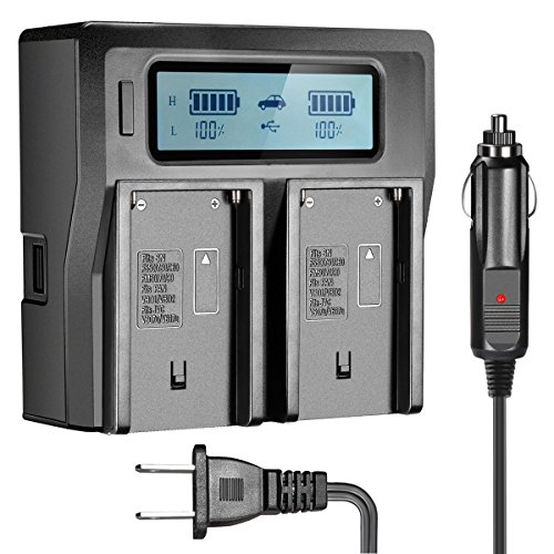 OAproda NP-F970 Dual Battery Charger with LCD Display for Sony NP-F550, NP-570, NP-750, NP-F770, NP-F930, NP-950, NP-960,NP-F970, NP-FM50, NP-FM55H, NP-FM500H, NP-QM71, NP-QM91 Camcorder Batteries