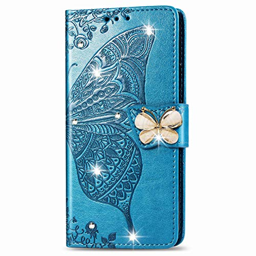 Blllue Schutzhülle für Samsung S9, S9 Case Point Bling Diamant Schmetterling PU Leder Handy Schutzhülle für Samsung S9 - Blau