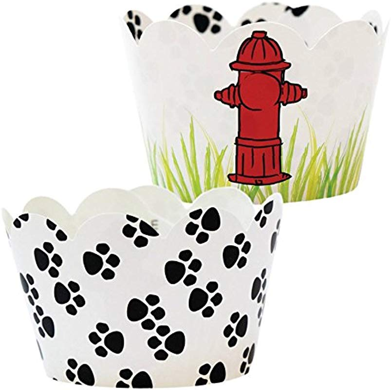 Paw Print Party Supplies 36 Reversible Puppy Dog Theme Cupcake Wrappers Rescue Patrol Birthday Cup Cake Liners Fire Hydrant Treat Wraps Pet Favor Bag Holder Animal Pals Rescue B Day Decorations