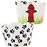 Paw Print Party Supplies - 36 Reversible Puppy Dog Theme Cupcake Wrappers | Rescue Patrol Birthday Cup Cake Liners, Fire Hydrant Treat Wraps, Pet Favor Bag Holder, Animal Pals Rescue B-day Decorations