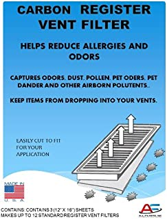 Carbon Register Vent Air, Odor and Dust Filters