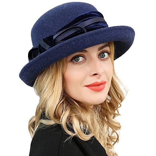 F FADVES Women Wool Felt Hat Wide Brim Fedora Hats Retro Bowler Floppy Church Cap Navy Blue
