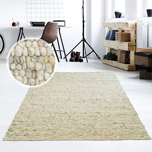 Taracarpet Moderner Handweb Teppich Alpina handgewebt aus Schurwolle für Wohnzimmer, Esszimmer, Schlafzimmer und die Küche geeignet (130 x 190 cm, 63 Grau Beige meliert)