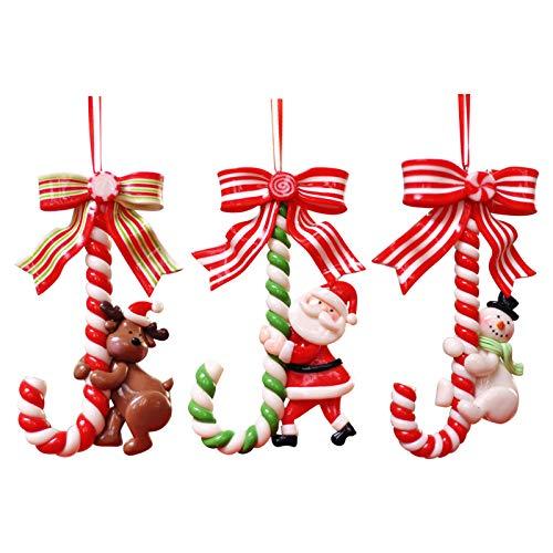 UKtrade Papá Noel muñeco de nieve dulce bastón de caramelo ornamento decoración del árbol de Navidad decoración ornamento lindo y pequeño llevar felicidad pacífica y afortunada en el próximo año