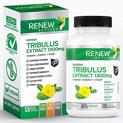 Renew Actives Tribulus Terrestris Extract 1300mg Tribulus Powder Supplement with 45 Saponins product image