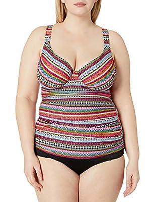 Anne Cole Women's Plus Size Twist Front Underwire Tankini Swim Top, Jet Set Stripe, 18W