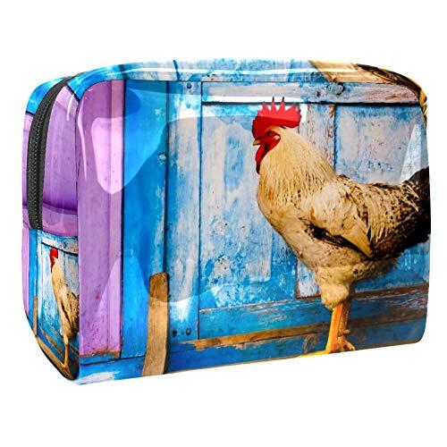 TIZORAX Coq à la porte en bois Sacs cosmétiques en PVC Maquillage Trousse de toilette de voyage Organisateur pour femme
