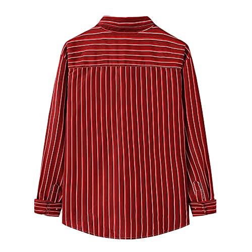 D-Rings Camisa de algodón para hombre, para tiempo libre, manga larga, corte regular, rojo, M