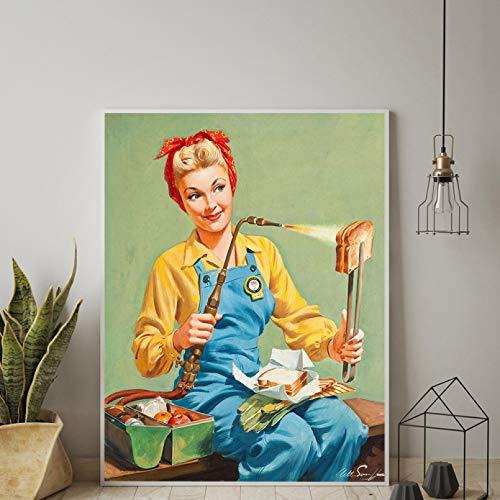 Bild malen nach zahlen Druck Poster Vintage Käse Sandwich Toast Poster Kunst Frau Küche Pin Up Mädchen Zeichen Retro...