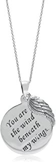 Silvershake 925 Sterling Silver You Are the Wind Beneath my Wings Circle and Wing Pendant