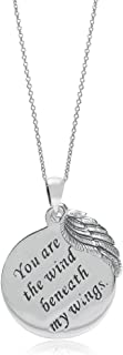 925 Sterling Silver You Are the Wind Beneath my Wings Circle and Wing Pendant