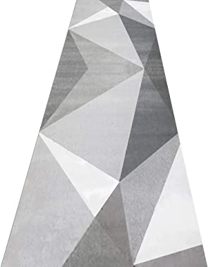 AOMRUN Tapete Alfombra Pasillo Alfombra para Corredor moqueta por Metros patrón de triángulo geométrico Gris de Moda, Suave C