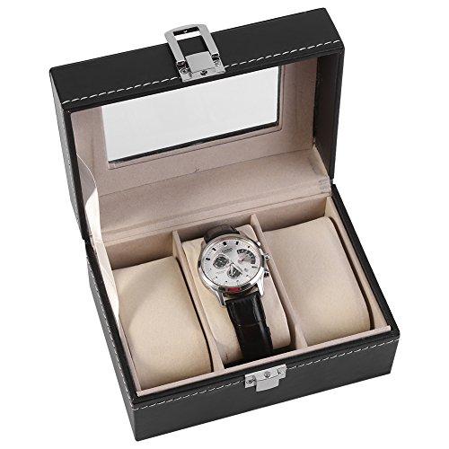 Y-M-H Caja De Reloj 1 UNID High Grade 3 Slots PU Caja De Cuero Caja De Cuero para Ver El Organizador De Almacenamiento De Exhibición De Joyería
