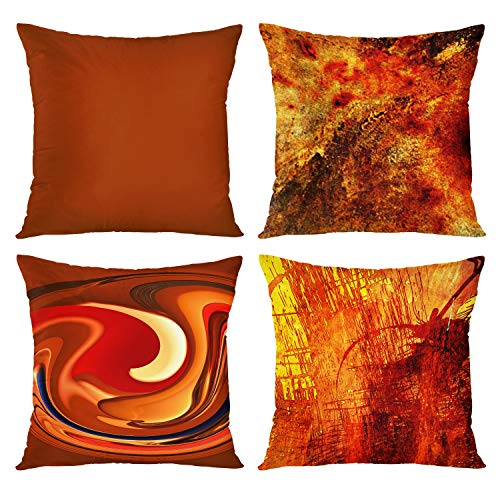Emvency Set of 4 Throw Pillow Covers Burnt Orange Abstract Red 20 Tan Funky Watercolor Grunge Monochrome Decorative Pillow Cases Accent Couch Home Decor Square 18x18 Inches Pillowcases
