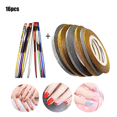 16 Rollen Nail Art Stripes Tape Nagel Zierstreifen Nail Striping Tape Sticker Nageldesign Deko, Tape Sticker Zierstreifen Packung Selbstklebend Glitze Line DIY Nail Art Styling Tools Striping Tape