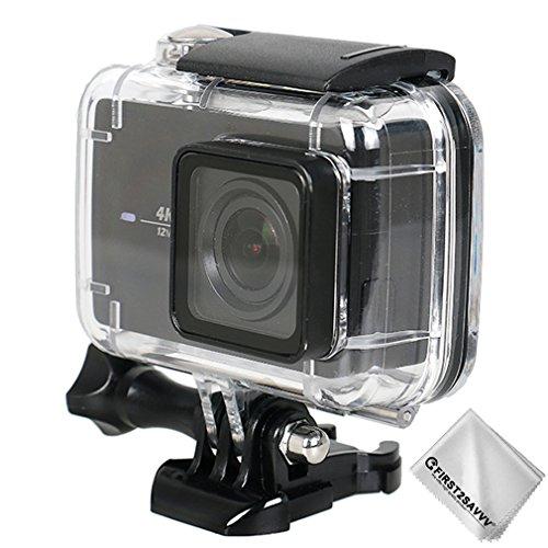 First2savvv Immersioni caso alloggiamento impermeabile sott'acqua 30m subacquea con vetro lente Xiaomi Yi 4K+ .Yi Discovery .Yi Lite .Yi 4K Plus .4K action camera compatibile nero YI-Discovery-01