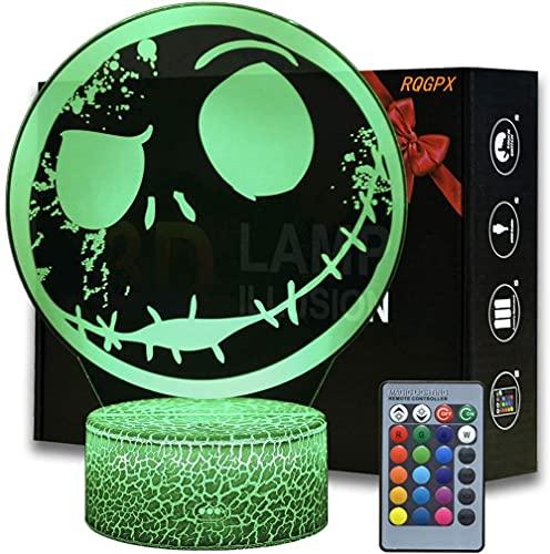 Lámpara de ilusión 3D Jack Skellington bebé luz de noche 16 colores juguetes para 8-12 años niños niñas lámpara 3D regalo de cumpleaños edad 7 8 9 10 niños