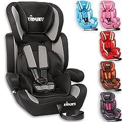 KIDUKU® barnstol 9-36 kg (1-12 år) - bilbarnstol ECE R44/04, grupp 1/2/3 bilbarnstol, svart/grå
