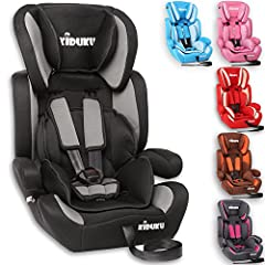 KIDUKU® kinderzitje 9-36 kg (1-12 jaar) - autostoeltje ECE R44/04, groep 1/2/3 autostoeltje kinderzitje, zwart/grijs*