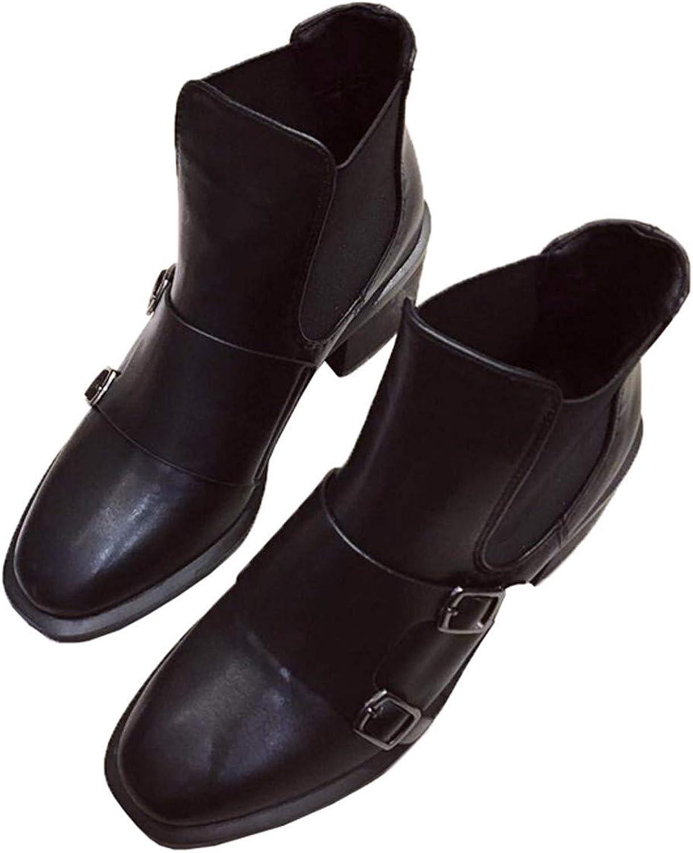 HBDLH Damenschuhe Martin Stiefel Stiefel Stiefel Heel 7 cm Dicke Sohle 100 Sätze Retro Chelsea - Stiefel  d546aa