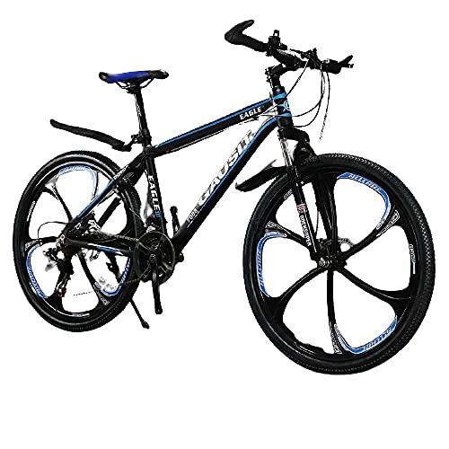 Montaña De Amortiguador Todoterreno, Disco De Aceite Ultraligero De 30 Velocidades, Hombres Y Mujeres Jóvenes Estudiantes De Bicicleta-[Seis Cuchillo Azul Negro]_24 Velocidades (26 Pulgadas),
