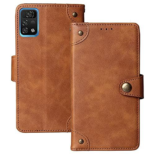 Dingshengk Retro Flip Braun Echt Leder Tasche Hülle Für UMIDIGI A11 Pro Max 6.8