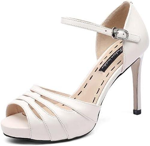 Sandalias Femeninas Summer High Heels damen Boca de Pescado Silberforma Impermeable 10CM (Weiß schwarz)