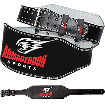 Armageddon Sports Weight Lifting Belt - 6 Inch Genuine Leather Padded Gym Belt - Supports and Reduces Stress - Ensures Comfort and Protection - Premium Quality  XXL