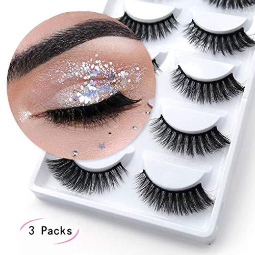5 paires de faux cils faits à la main 3D faux cils de vison légers Légers faux cils individuels maquillage doux cils réutilisables pour un aspect naturel (3 paquets)
