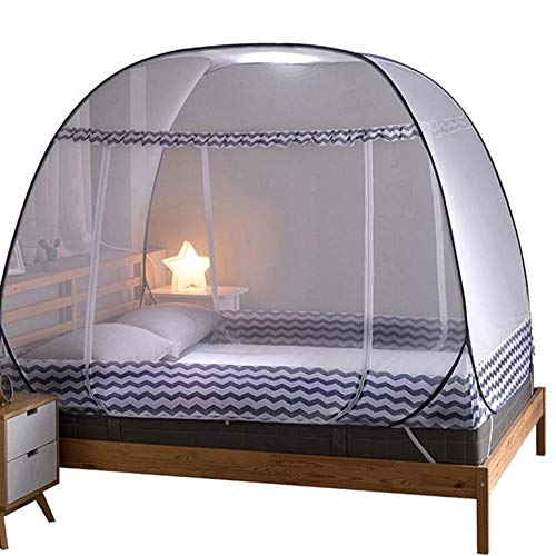 HAOAYOU Mosquitera Cama Portátil Automático Pop Up Mosquito Plegable Bunk Transpirable Netting Tent Mosquito Net Home Decor 150 * 180 * 200cm Gris