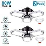 LED Garage Lights 80W Deformable 2 Pack 8000LM Three Leaf Triple Glow Close to Ceiling Light Fixtures E26 E27 Screw in Lighting for Work Shop Warehouse Low Bay New Arrival, No Motion Activated