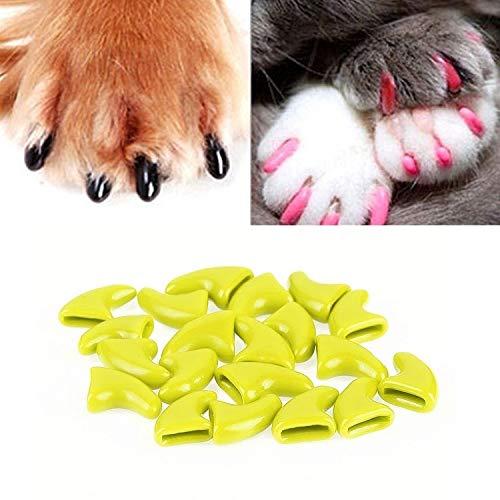 A/M Haustierpflege JRC 20 Stück Silikon Soft Cat Nail Caps/Katzen-Tatzen-Greifer/Haustier-Nagel-Schutz/Cat Nail Cover, Größe: S (Schwarz) Haustierzubehör (Color : Yellow)