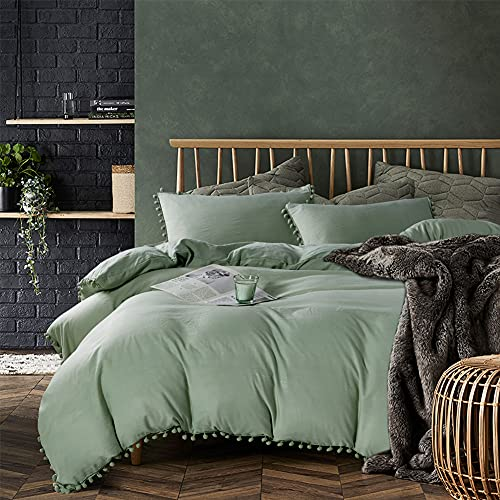 AiMay Pom Poms 3 Piece Duvet Cover Set (1 Duvet Cover + 2 Pillowcases) Stone-Washed Brushed Luxury 100% Super Soft Microfiber Bedding Collection (Sage/Dark Sea Green, Queen)