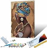 Pintura Digital Flor DIY Kit de Retrato de Mujer Africana Pintura acrílica Van Gogh patrón de Pintura Digital con 3 Pinceles Colores Brillantes 40x50cm Sin Marco