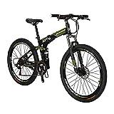 Eurobike Bicicleta de montaña plegable para adultos de 27.5 pulgadas para hombres 18 pulgadas marco de bicicleta de acero (rueda regular Armygreen)