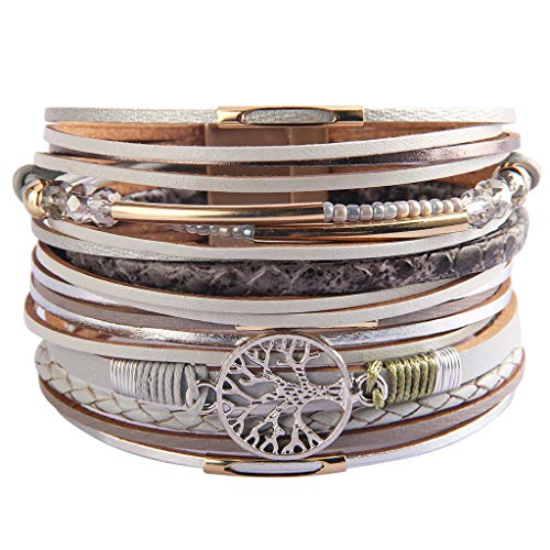 JAOYU Tree of Life Multilayer Leather Wrap Bracelet for Women Boho Jewelry Handmade Braided Magnetic Buckle Gorgeous Cuff Casual Bangle