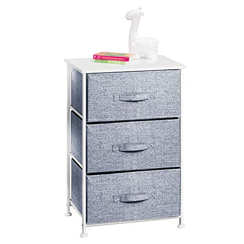 mDesign Vertical Dresser Storage Tower - Sturdy Steel Frame, Wood Top, Easy Pull Fabric Bins - Organizer Unit for Child/Kids Bedroom or Nursery - 3 Drawers - White/Navy Blue