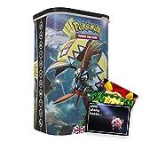Lively Moments Cartas Pokémon en caja Tin-Box protector Tapu Koko EN coleccionable cartas / caja de metal y tarjeta de felicitación gratis
