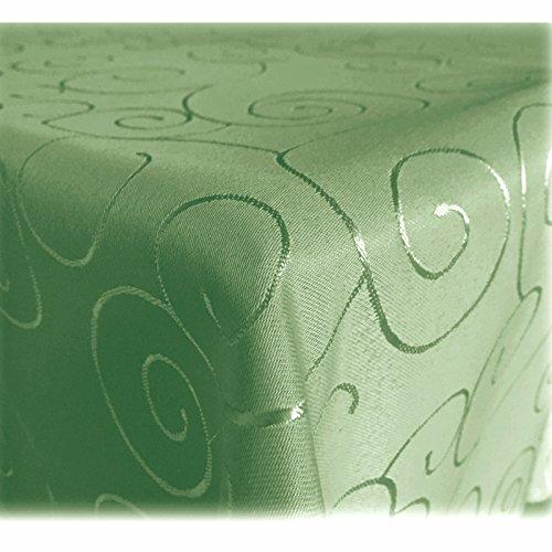 JEMIDI Tischdecke Ornamente Seidenglanz Edel Tisch Decke Tafeldecke 31 Größen und 7 Farben Hellgrün 110x140