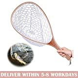 Cloudsky Fishing Net with Wooden Frame Rubber Mesh, Safe Catch and Release Fly